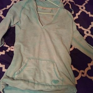 Women's Light teal pullover with hood